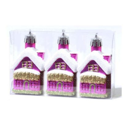Casette glitterate fucsia set 3 pezzi cm 7