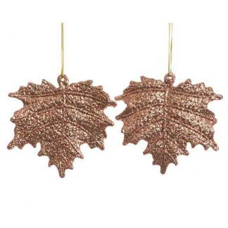 Decoro foglie suede brown set 2 pezzi