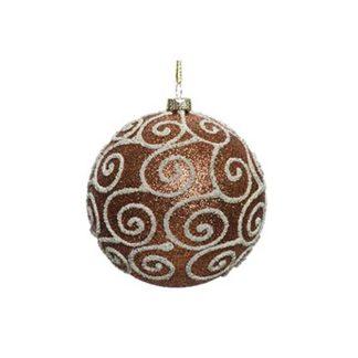 Pallina Natalizia decorata Rusty Brown mm 80