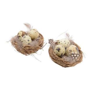Decoro nido con uova set da 2 pezzi cm 8