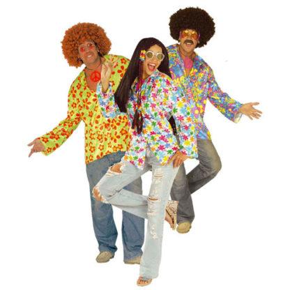 Camicia fiori Hippie velluto colori assortiti tg. M/L