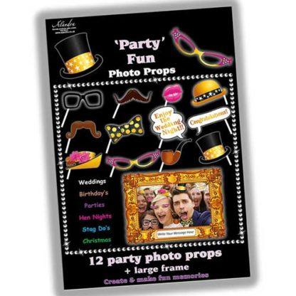 Bastoncini foto booth party 12 pezzi + cornice