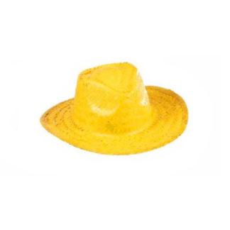 Cappello Cow Boy paglia giallo neon