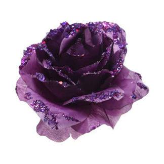 Rosa glitterata viola con clip
