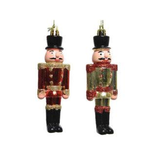 Soldatino schiaccianoci oro e rosso cm. 12,5
