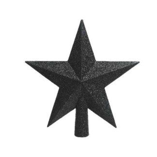 Puntale stella glitterata nera cm 19