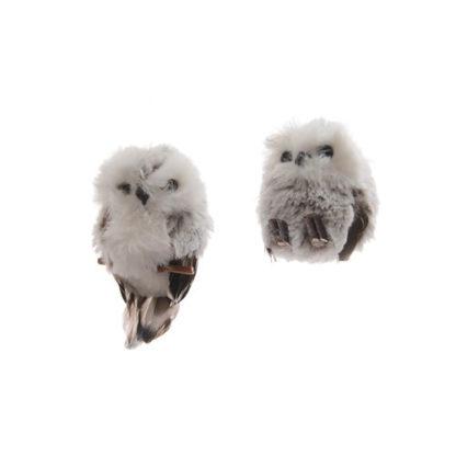 Gufo bianco e grigio in peluche cm. 8