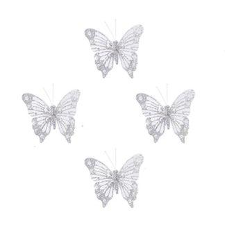Farfalla Glitter Bianca Set 4 pezzi cm. 8
