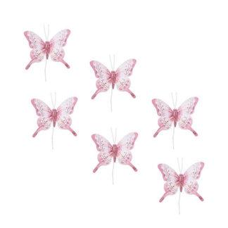 Farfalle Glitter Rosa Set 6 pezzi
