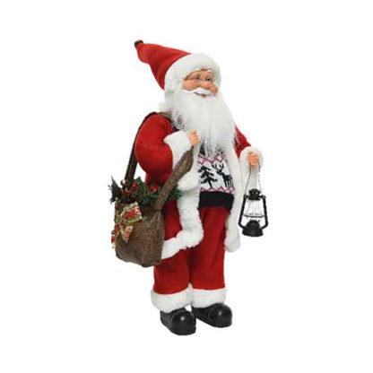 Babbo Natale bianco e rosso con lanterna cm. 45