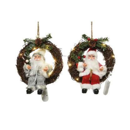 Corona con Babbo Natale e luci led cm. 20
