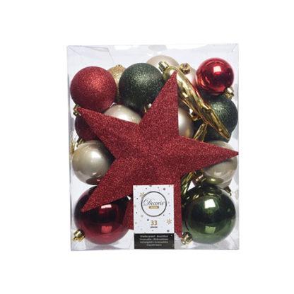 Box 33 Palline con Puntale Mix Natale