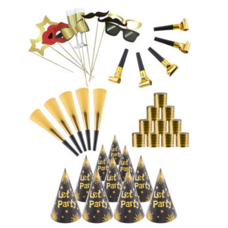 Box 10 persone Mini Party Kit oro/nero