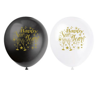 Palloncini Happy New Year conf 8 pezzi
