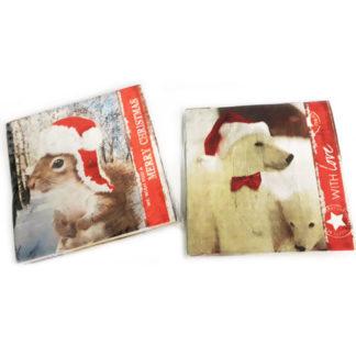 Tovaglioli Natale animali conf. 20 pezzi