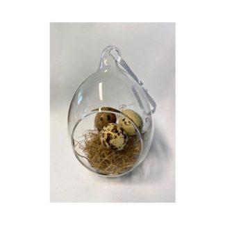 Decoro Pasquale in vetro con uova cm. 11