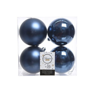 Box 4 palline natalizie night blu assortite mm 100