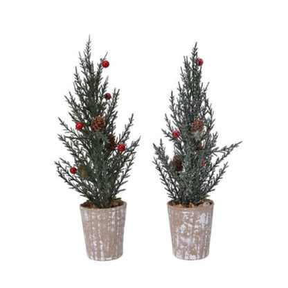Alberino di Natale con pigne e bacche cm 28