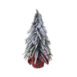 Alberino di Natale innevato con bacche cm 20