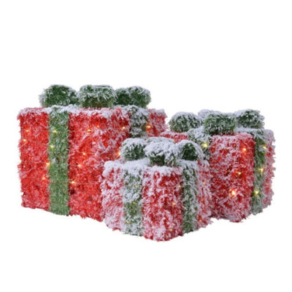 Decoro 3 pacchi regalo innevati rossi con luci a batteria