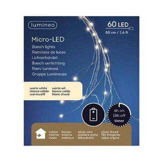 Ramo 10 Fili 60 luci led bianco caldo con timer cm 80