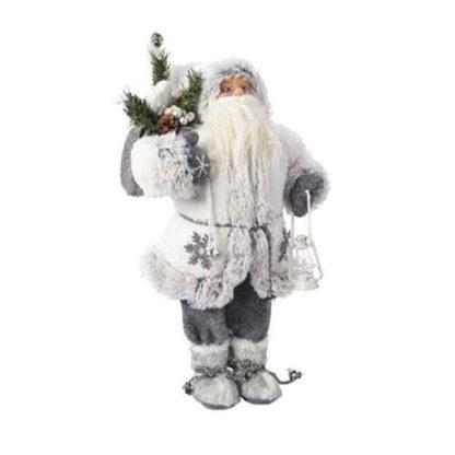 Babbo Natale bianco con lanterna cm. 45