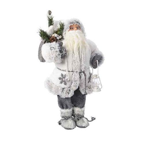 Babbi Natale.Babbo Natale Bianco Con Lanterna Cm 45 Baraldi Cotillons