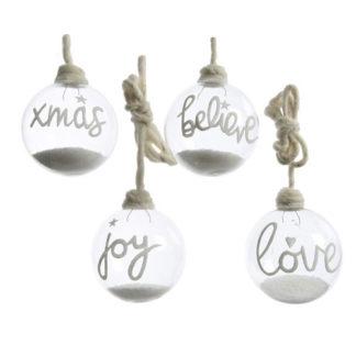 Palla di Natale in vetro con neve e scritta mm. 100