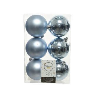 Box 6 palline natalizie azzurre assortite mm 80
