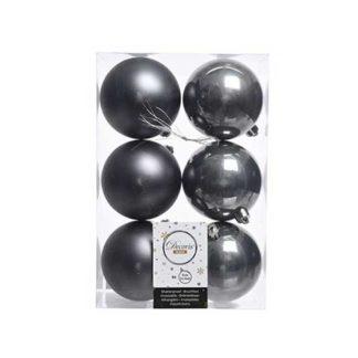 Box 6 palline natalizie stone grey assortite mm 80