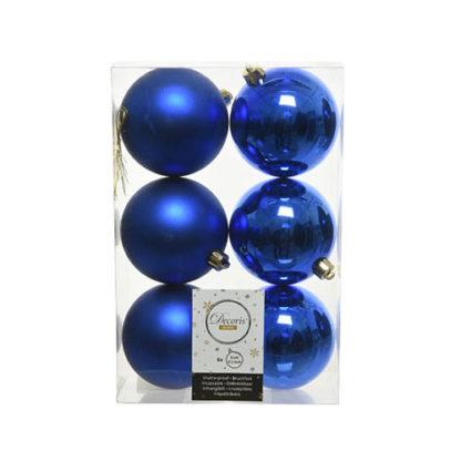 Box 6 palline natalizie royal blu assortite mm 80