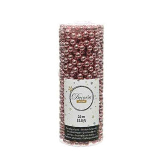 Tubo perline natalizie rosa mt 10