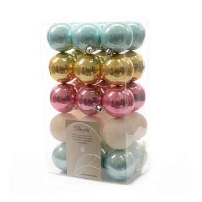 Box 30 palline di Natale mix Pastello mm 60