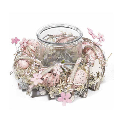 Centrotavola Pasquale rosa con portacandela cm. 21