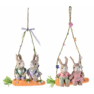 Conigli Pasquali sull'altalena cm. 49