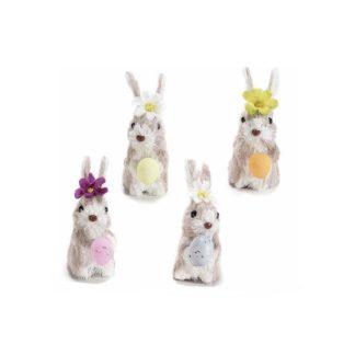 Coniglietto Pasquale con fiore e uovo cm. 11,5