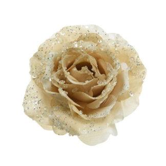 Rosa glitterata bianco lana con clip