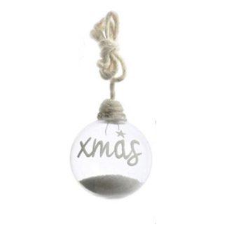 Palla di Natale in vetro con neve e scritta