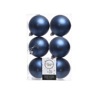 Box 6 palline natalizie blu notte satinate mm 80