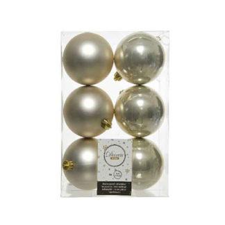 Box 6 palline natalizie perla assortite mm 80