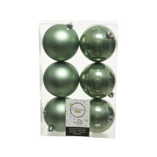 Box 6 palline natalizie sage green assortite mm 80