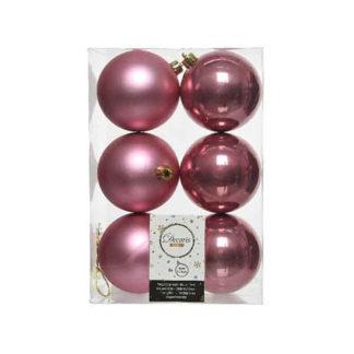 Box 6 palline natalizie velvet pink assortite mm 80