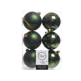Box 6 palline natalizie pine green assortite mm 80
