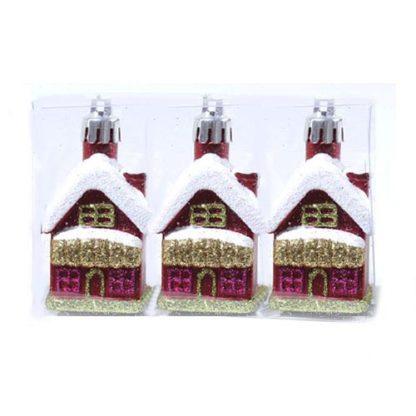 Casette glitterate rosse set 3 pezzi cm 7