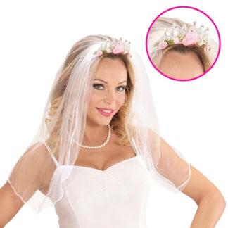 Cerchietto velo da sposa con roselline rosa