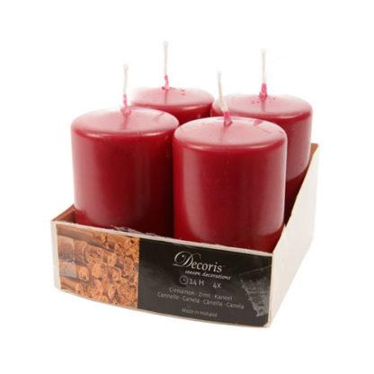 Candele Natale Rosso Bordeaux conf. 4 pezzi