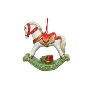 Decoro Cavallo a Dondolo in terracotta cm. 11
