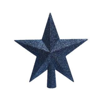 Puntale stella glitterata Night Blu cm. 19