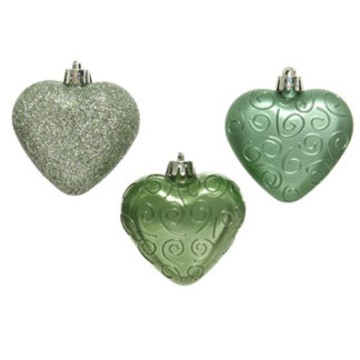 Cuori Sage Green Set 6 pezzi cm. 6