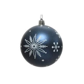 Pallina Natalizia Fiocco di Neve blu mm. 80